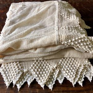 Vintage bohemian crocheted lace curtains two panel